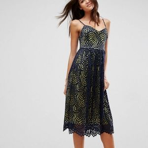 ASOS contrast lace cami midi dress